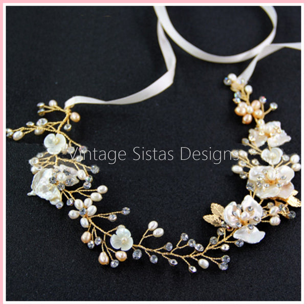 Freshwater Pearl and Shell Flower Bridal Headpiece