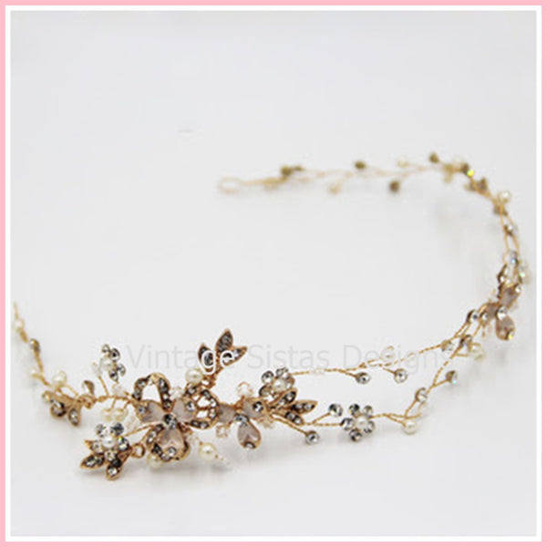 Gold Rhinestone And Crystal Bridal Headpiece