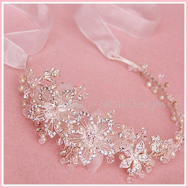 Rhinestone Flowers Bridal Headband