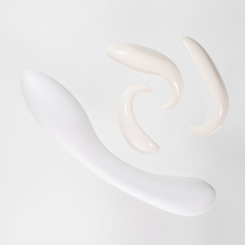 Iconic Pleasure Set - Porcelain Gspot Dildo and Massage Stones