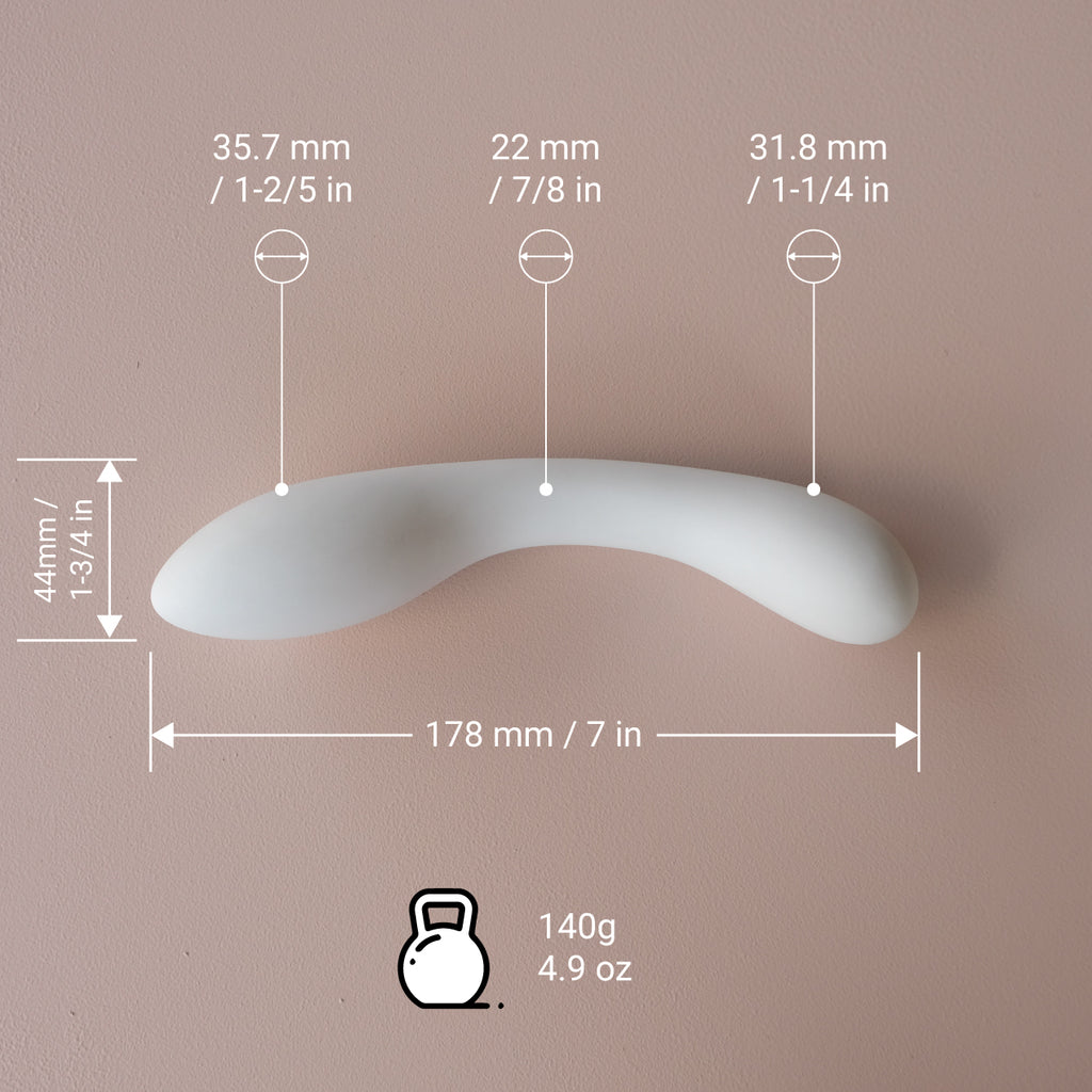 Dimensions and Weight of our Body Safe Porcelain Dildo