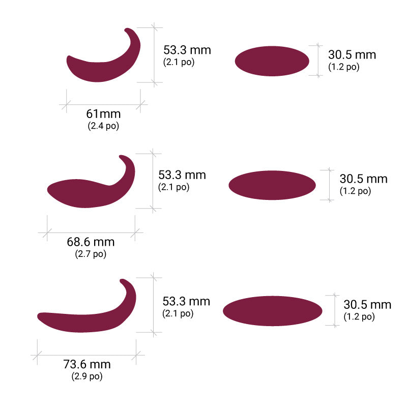 Adori - Désirables Porcelain Massage Stones Size Chart