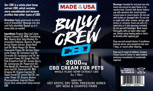2000mg Soothing Pet Cream - Bully Crew CBD