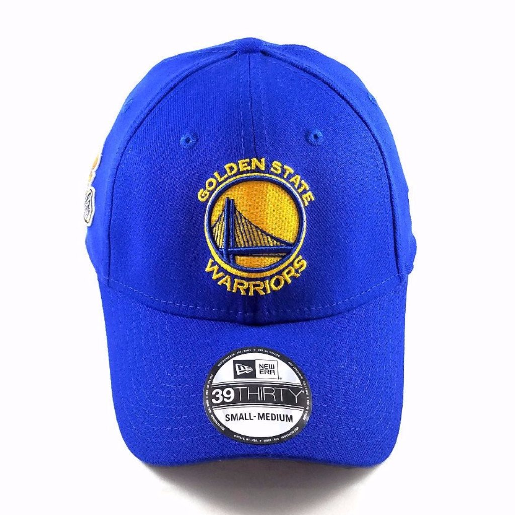 """New Era 5950 Golden State Warriors /""""Gold Stated/"""" Fitted Hat Royal Blue NBA Cap"""