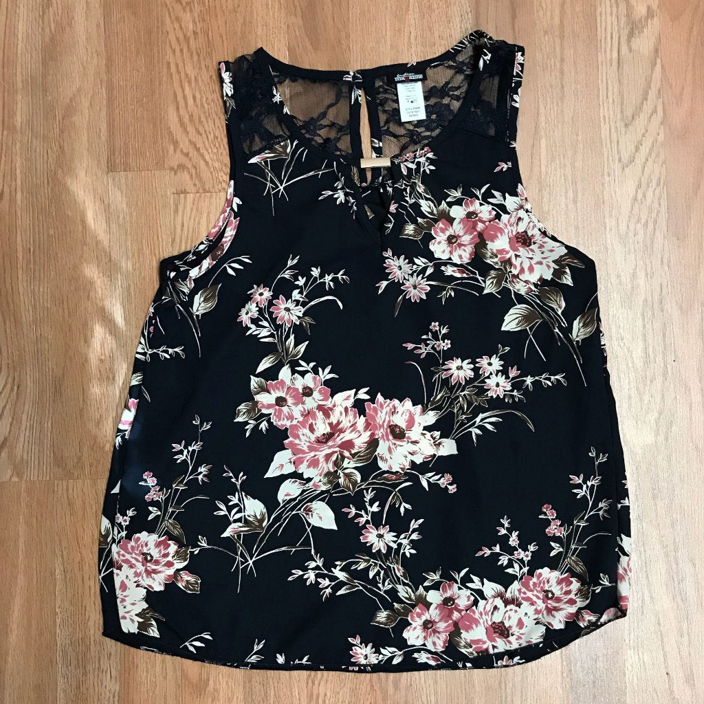 a300b16e8a54a3 Gold Trim w/Lace Floral Tank Top - Craze Fashion