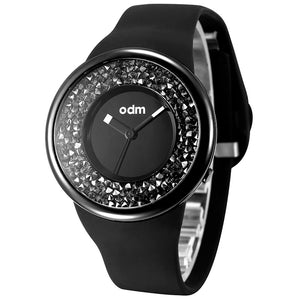 """HOT"" odm DD156-04 Hologram black crystal fashion watch"