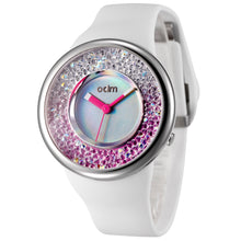 "Load image into Gallery viewer, ""HOT"" odm DD156-02 Hologram white&pink crystal fashion watch"