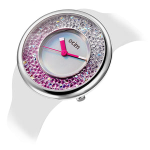 """HOT"" odm DD156-02 Hologram white&pink crystal fashion watch"