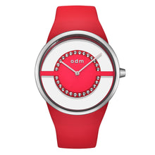 "Load image into Gallery viewer, ""New"" o.d.m. DD182-03 Women Swarovski Crystal Transparent Dial Wristwatch"