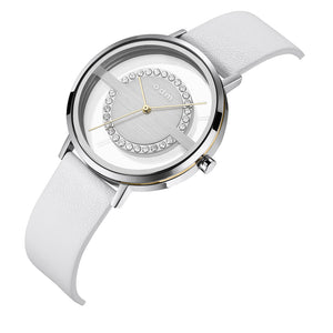 """New"" odm DD177-01 Women White Swarovski Crystal Transparent Dial Fashion Watch"