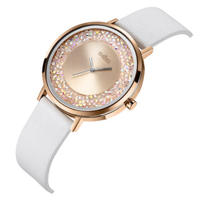 """New"" o.d.m. DD180-02 Women Swarovski Crystal Dial Wristwatch"
