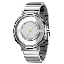 "Load image into Gallery viewer, ""New"" odm DD177-04 Women Sliver Swarovski Crystal Transparent Dial Fashion Watch"