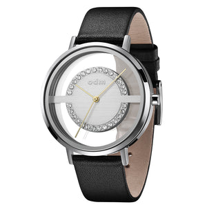 """New"" odm DD177-03 Women black Swarovski Crystal Transparent Dial Fashion Watch"