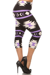 purple aztec capri plus size leggings