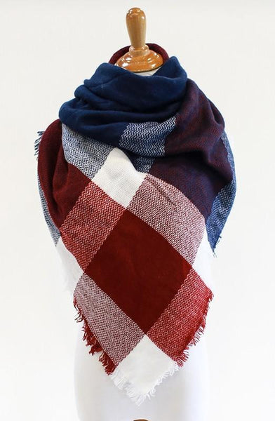 *Blanket Scarf - Burgundy/Blue