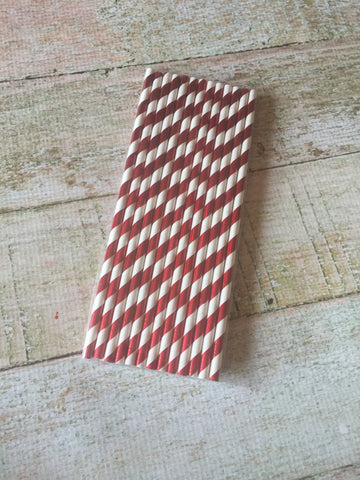 Red Stripes Foil Straws