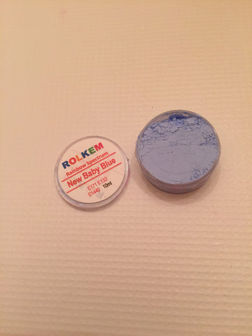 Rolkem Rainbow Spectrum Baby Blue Edible Dust Paint on Chocolate