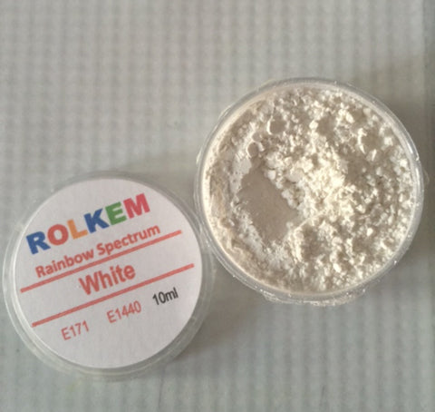 Rolkem Rainbow Spectrum White Edible Dust Paint on Chocolate
