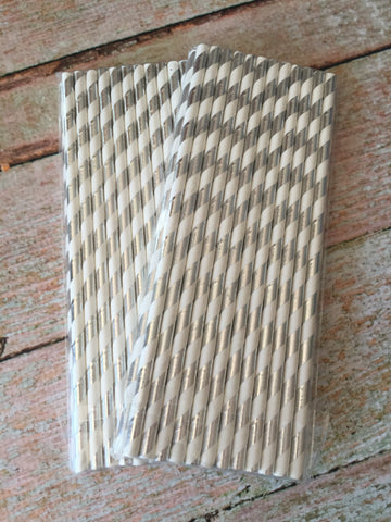 Silver Stripes Foil Straws