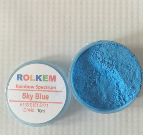 Rolkem Rainbow Spectrum Sky Blue Edible Dust Paint on Chocolate