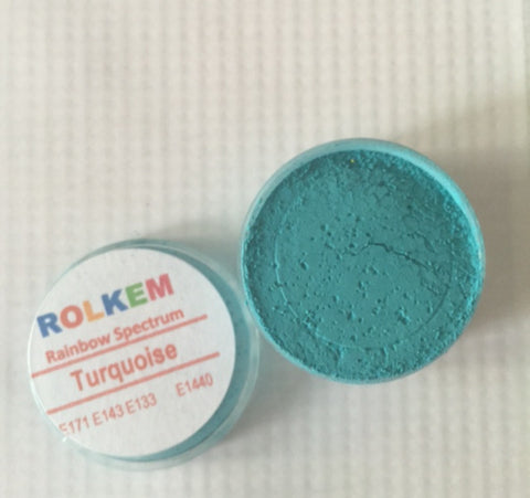 Rolkem Rainbow Spectrum Turquoise Edible Dust Paint on Chocolate