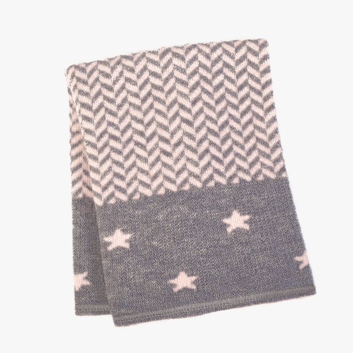 Petites Rectangle Baby Blanket in Pink/Charcoal
