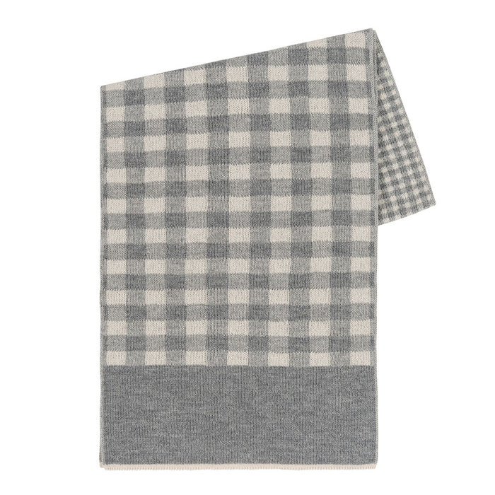 Gingham Scarf in Gray/Ivory