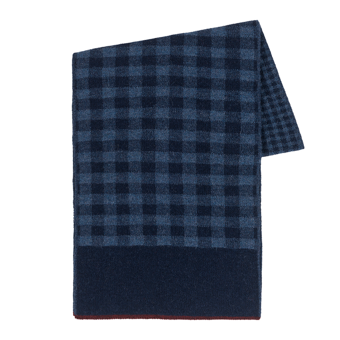 Gingham Scarf in Navy/Denim