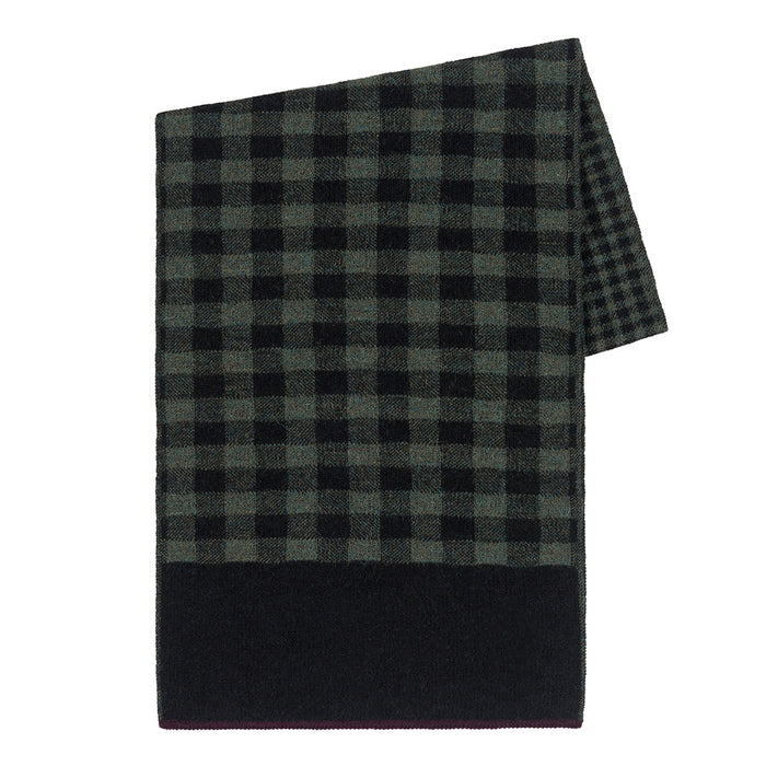 Gingham Scarf in Black/Olive