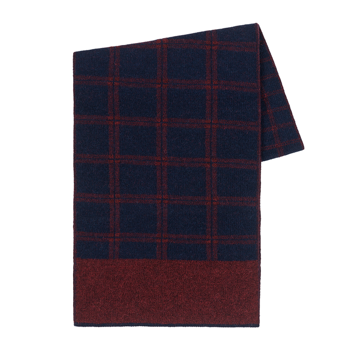 Windowpane Scarf in Burgundy/Navy
