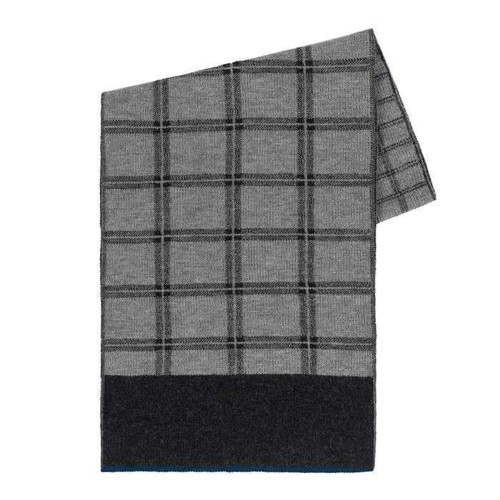 Windowpane Scarf in Charcoal/Light Gray