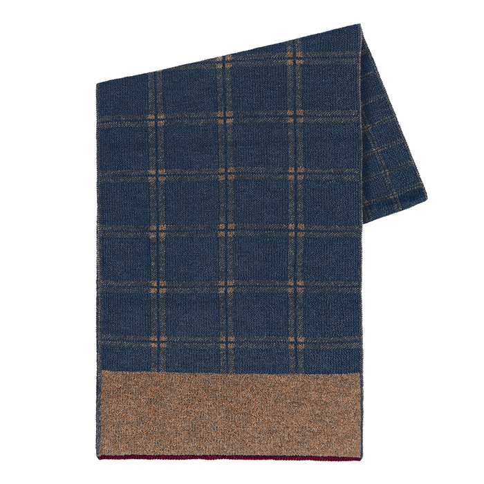 Windowpane Scarf in Camel/Denim