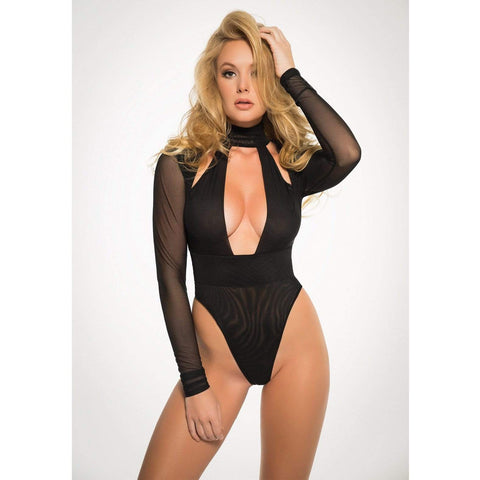 Adore Fishnet Bodysuit With Hoodie & Cut Out Back M