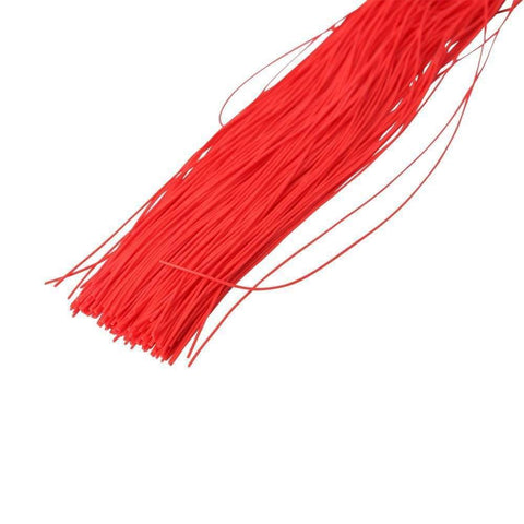 16 Inch Lambskin Twisted Grip Flogger - Black With Red Woven Handle
