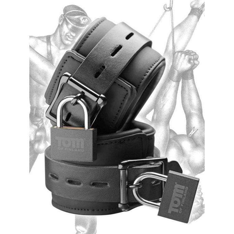 XR Brands-Tom Of Finland Neoprene Wrist Cuffs With Locks-2