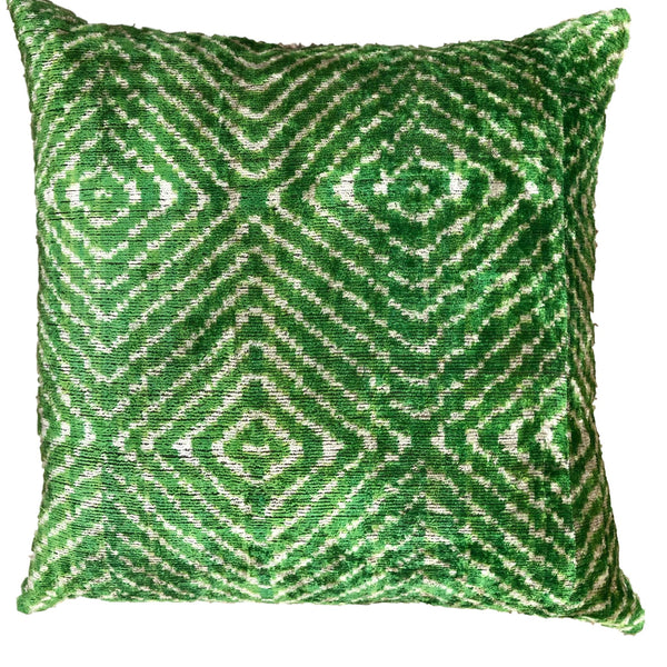 Silk Velvet and Ikat Cushion Green