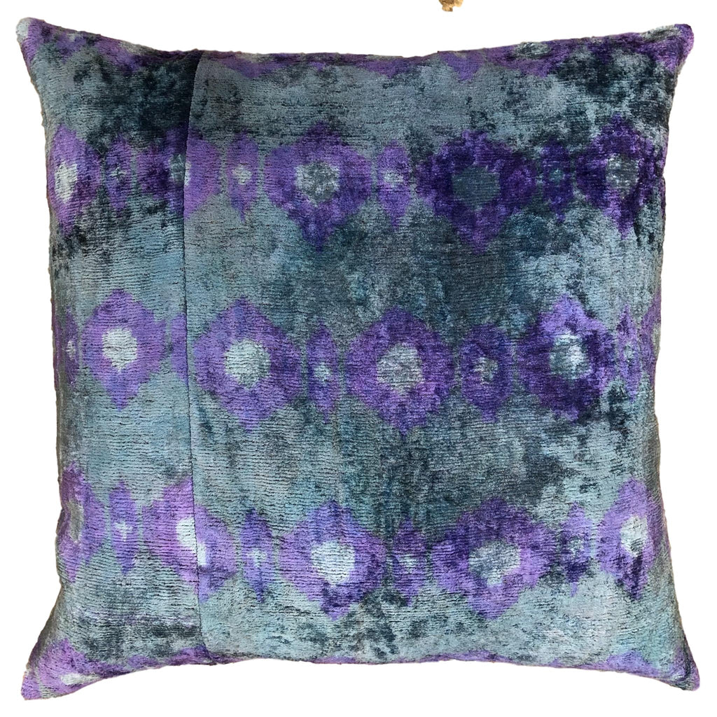 Silk Velvet and Ikat Cushion Sky
