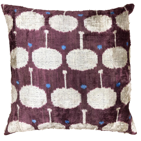 Silk Velvet and Ikat Cushion Purple