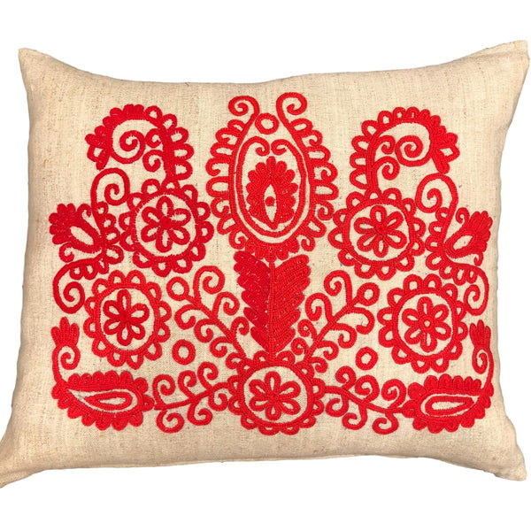 Vintage Embroidered Linen Cushion
