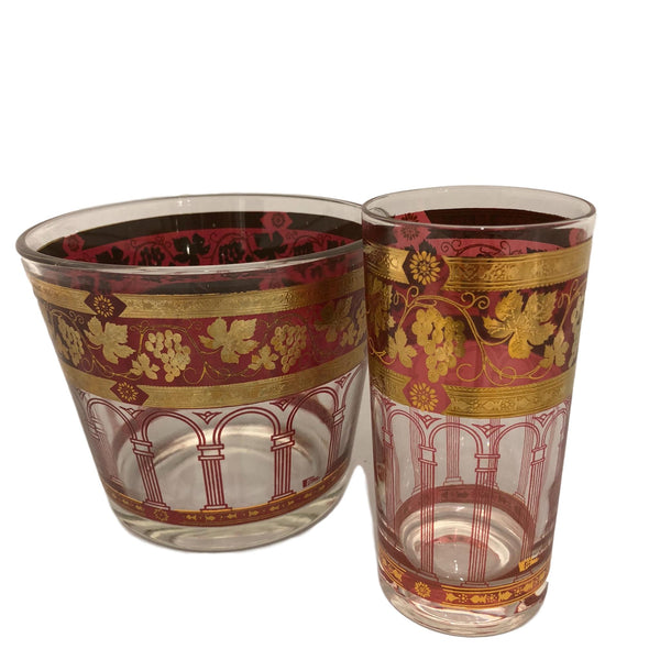 Set Vintage Glass with Ice Bucket
