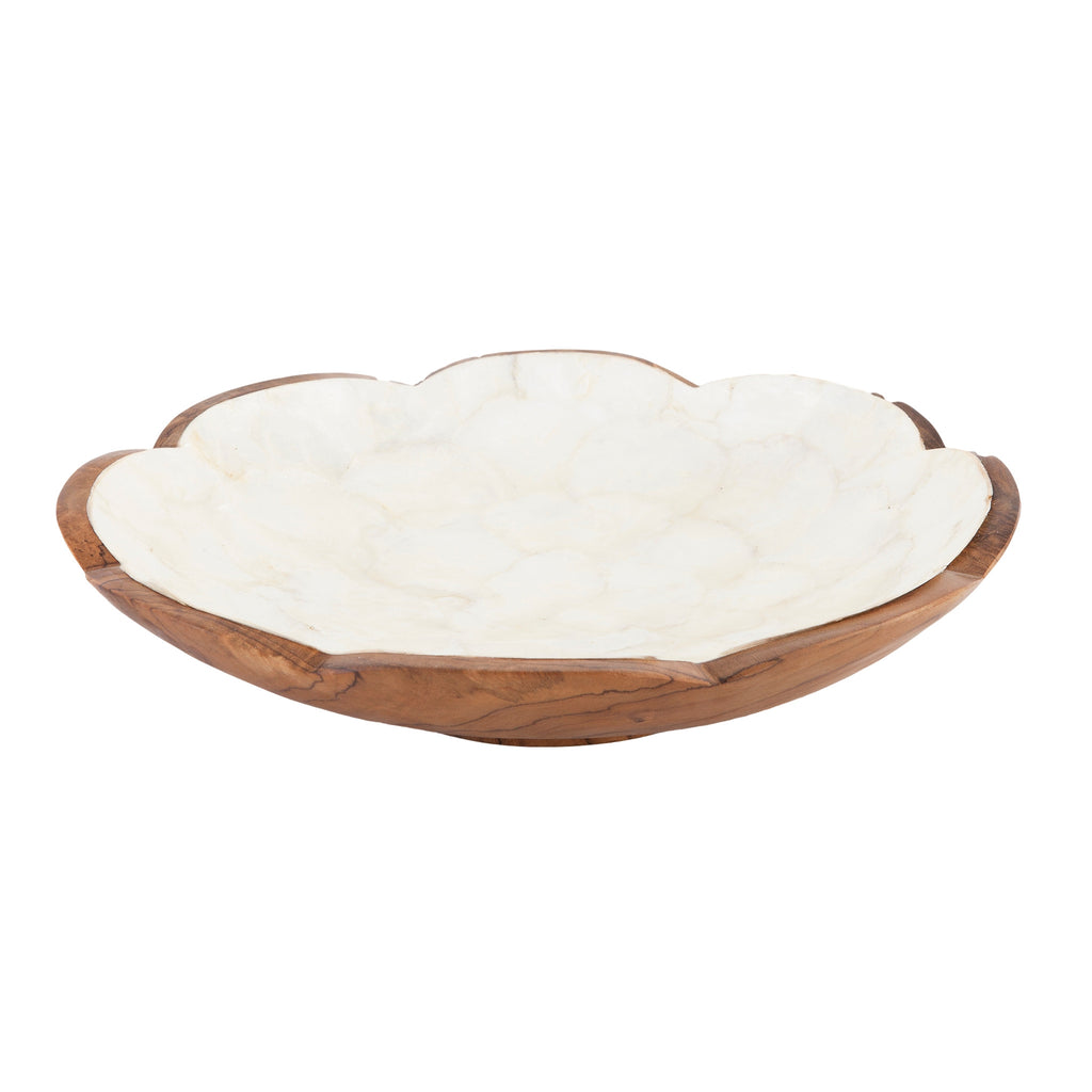 Teak Bowl White Shell Inlay