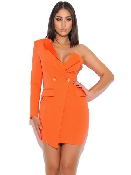 Yulissa Orange Crepe Tuxedo Dress