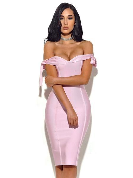 Pink Serena Off The Shoulder Bandage Dress