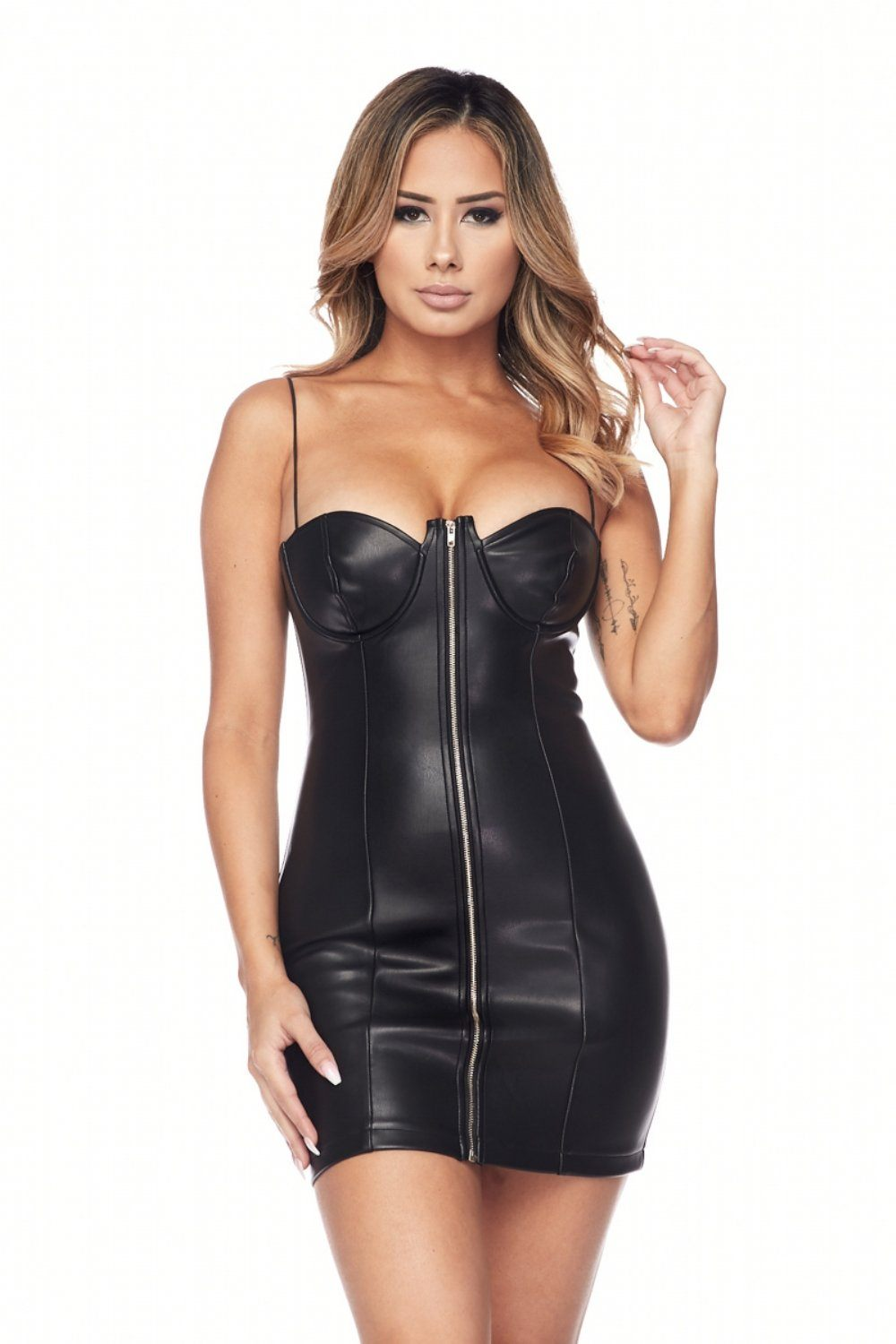 Avianna Faux Leather Bustier Dress - Dress - Marsia