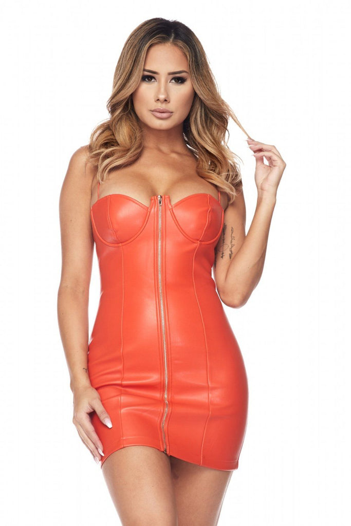 Orange Avianna Faux Leather Bustier Dress - Dress - Marsia