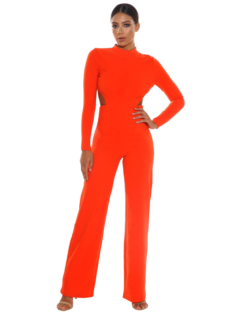 7065e8dd3a12 Quinlee Orange Backless Stretch Crepe Jumpsuit - Jumpsuits - Marsia
