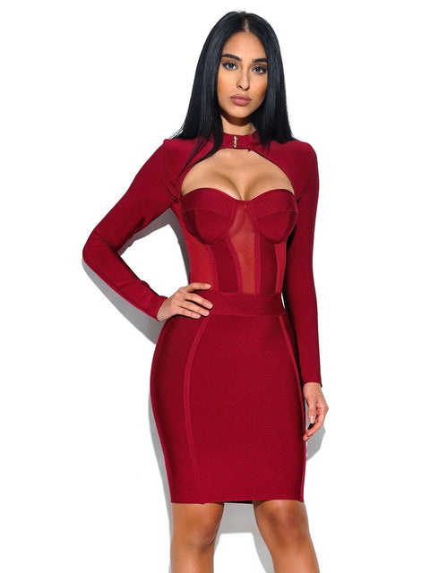 Melrose High Neck Bustier Bandage Dress