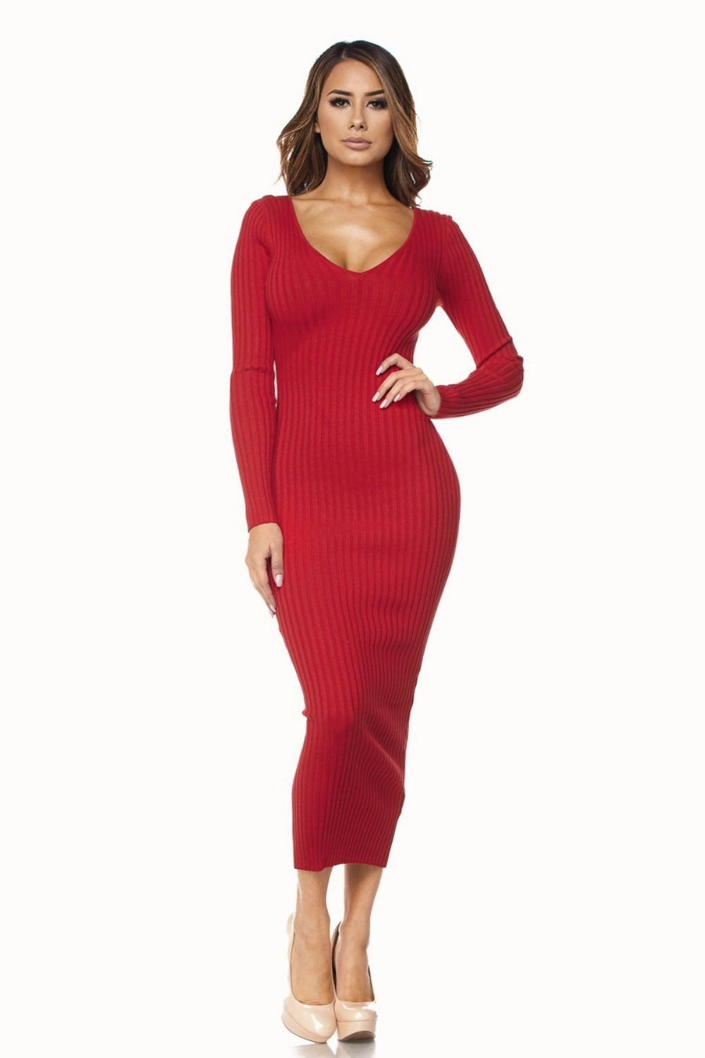 Kenya Red Ribbed Sweater Midi Dress - Dress - Marsia bac82a4df