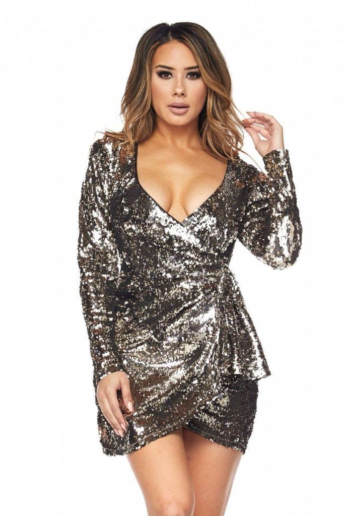Ariana Sequins Wrap Dress - Dress - Marsia
