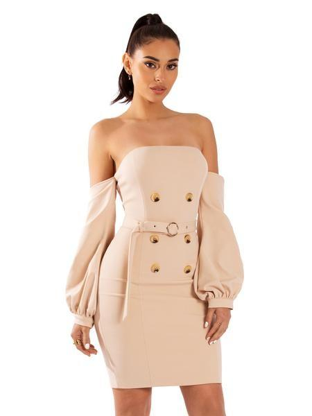 Korinna Beige Button Detail Dress - Dress - Marsia